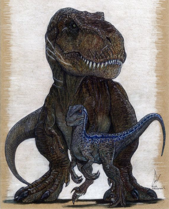 Blue And Rexy, Jurassic Word Original Artwork Prints. In