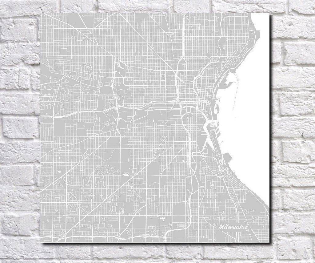 Milwaukee, Wisconsin City Street Map Print Custom Wall Map ...