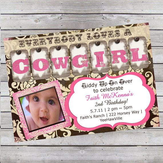 Cowgirl Birthday Invitation 1st Birthday or Any Age Pink and Brown Digital File or Add 5x7 Prints Front & Back