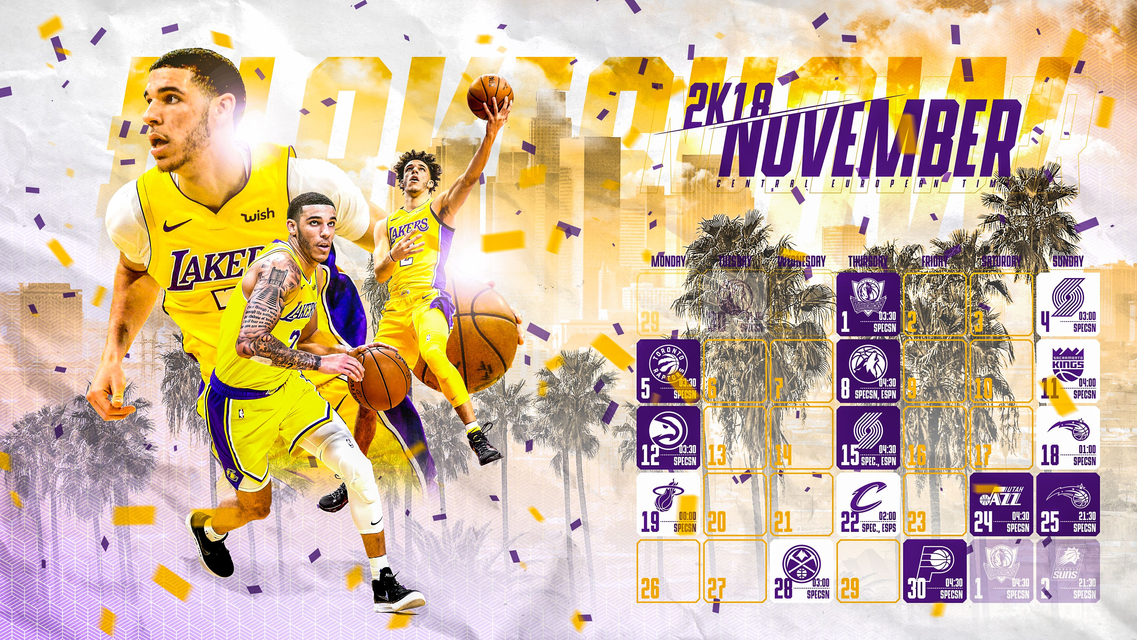 Schedule Wallpaper For The Los Angeles Lakers Regular Season 2018 19 Game Times Are Cet Made By Gergo Tobler Aka Tger S Los Angeles Lakers Lakers Game Time