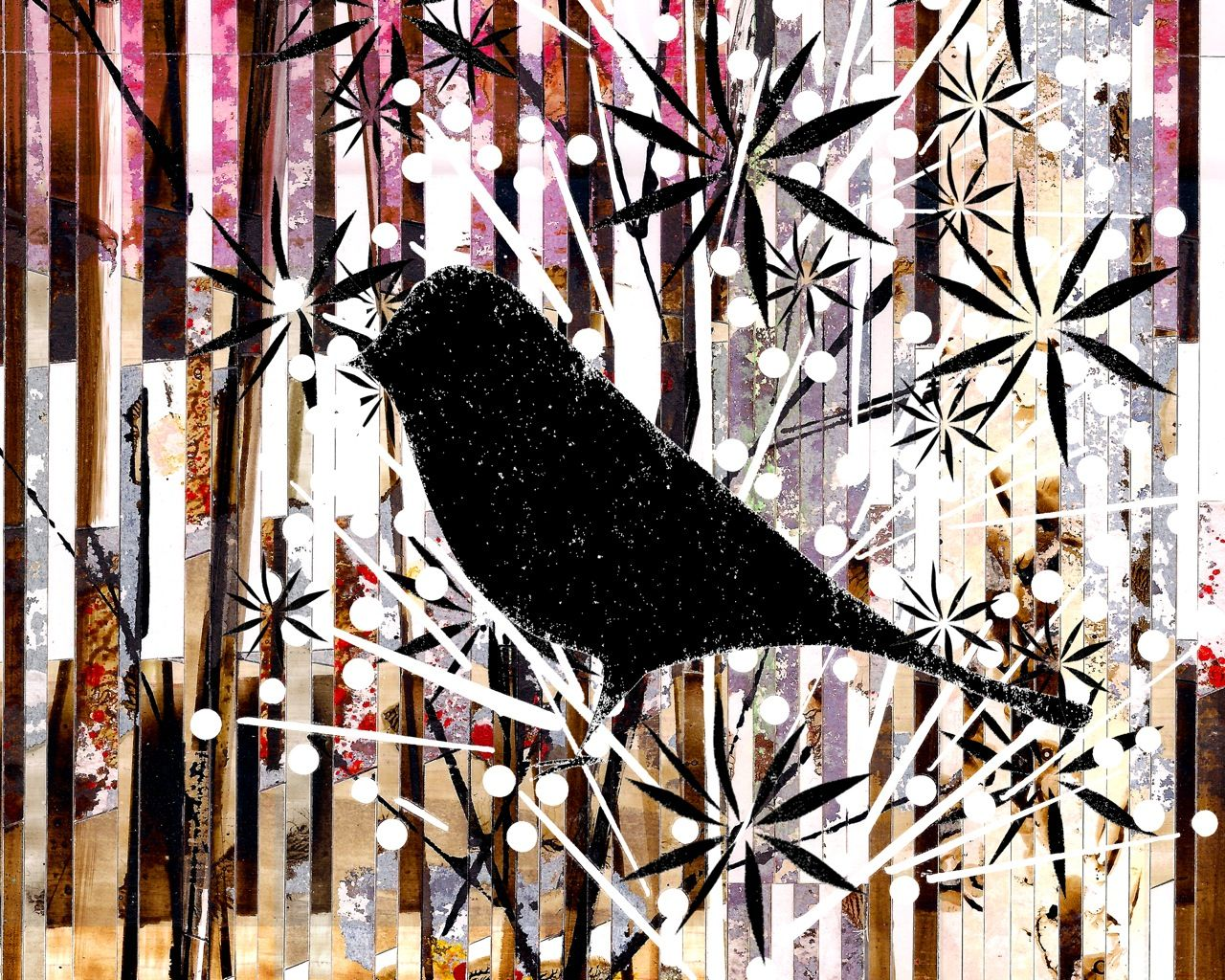 """Blackbird Posing In Blooming Tree, Close-Up / Catfish The Bird Close-up, 11""""X14""""  (Also available in 8""""X10"""", on a separate listing.)  Close-up of Catfish in the, """"Christmas in Springtime Tree"""". This is my best bird friend. Her name is Catfish but she is 100% bird. We found this tree and decided that it looked like Christmas but also Spring at the same time. I did a larger painting but this is one of her close-ups."""