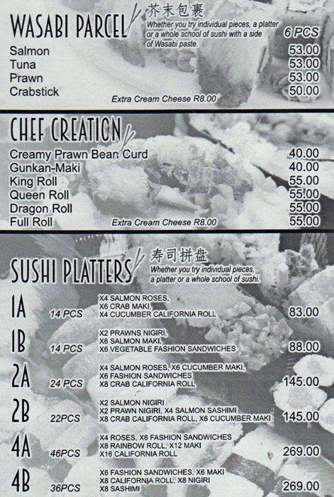 Na Go Ya Bloemfontein Menu Chinese Restaurant Menu Pinterest
