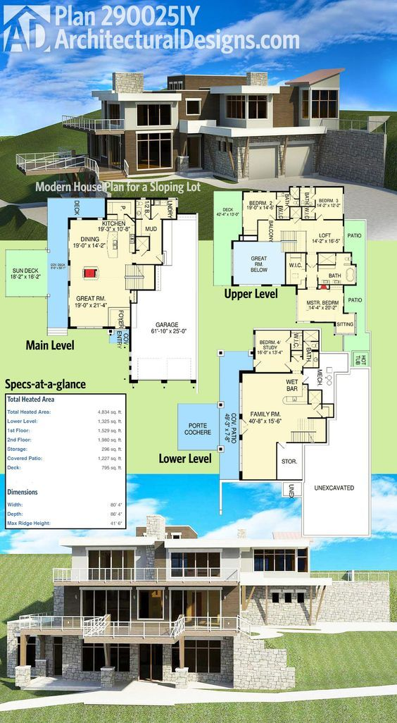 Plan 290025iy Modern House Plan For A Sloping Lot Modern House Plans House Plans Architectural Design House Plans