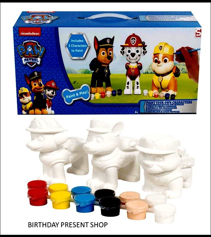 Disney Paw Patrol Paint And Play Paint Your Own Characters Chase Marshal Rubble