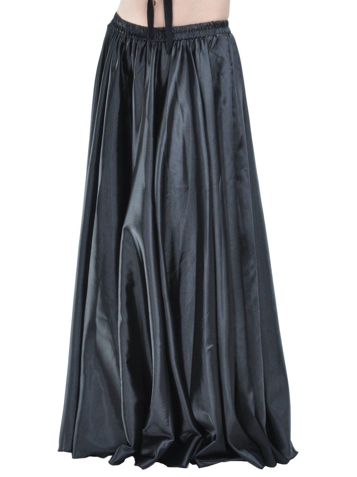 low priced 3b0b3 14361 $22 Dance Fairy Black Satin Long Skirt Full Circular Swing ...