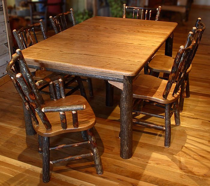 Rustic Old World Hickory Hickory Oak Leaf Table Set Rustic Furniture Hickory Furniture Rustic Shabby Chic Decor