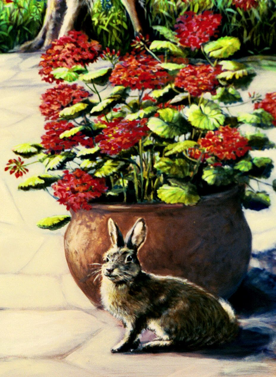 cotton tail with geraniums- mural detail.  By Ron Gordon.
