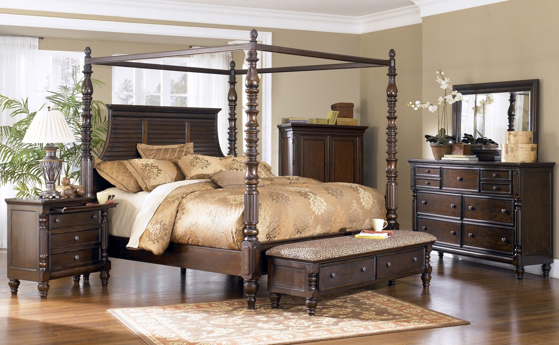 Best Ashley Key Town King Poster Bed Clearance Outlet Raleigh Furniture Home Comfort Furniture 400 x 300
