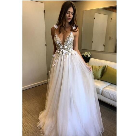 8c1c135466b Elegant Deep V-neck A-line Wedding Dresses Sleeveless Zipper Back Appliques  Beaded Bridal Wedding Gowns robe de mariee