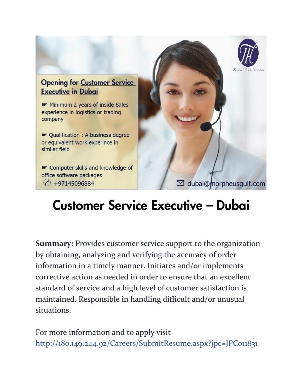 Customer service executive Job posting, Executive jobs