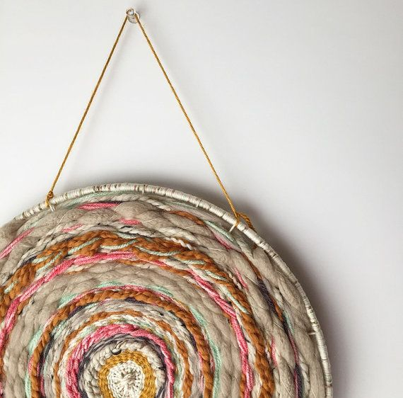 Round Weaving Wall Hanging Colorful Wall Art Eclectic Home Decor Woven Wall Hanging Circle Weaving Boho Decor Weaving Wall Hanging