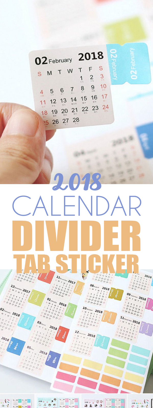 calendar divider tab sticker planner bullet journal bullet