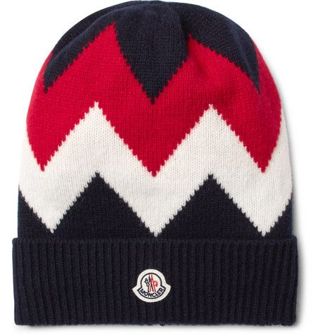 MONCLER TRICOT INTARSIA WOOL AND CASHMERE-BLEND BEANIE.  moncler ... 3a5e29679aa9