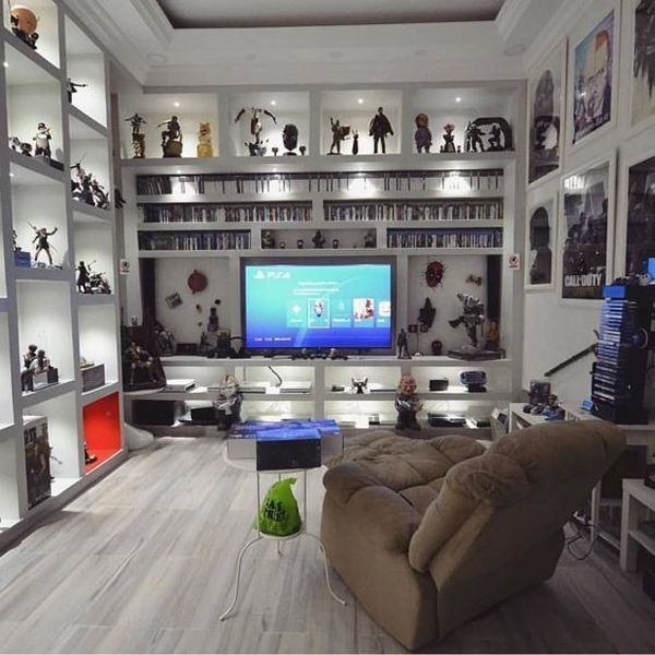 Loft Game Room Ideas: Minimalist-white-video-game-rooms-with-hack-organizer