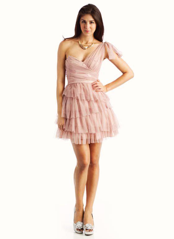 asymmetrical glitter ruffle dress $59.95
