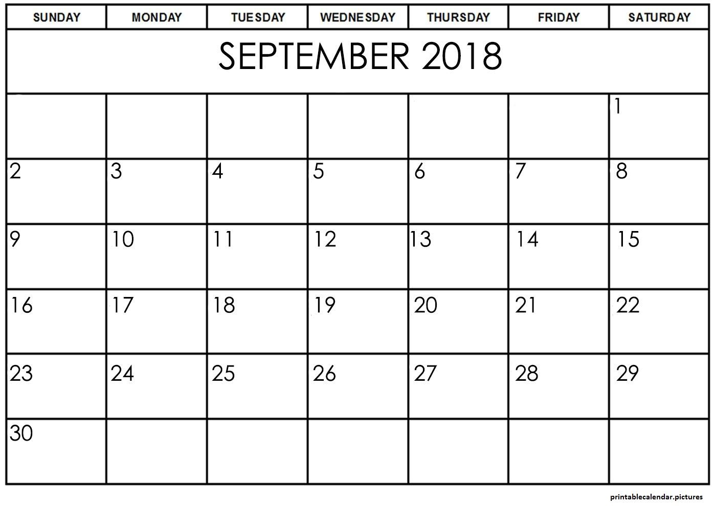 Pin By Printablepictures On September 2018 Calendar Template
