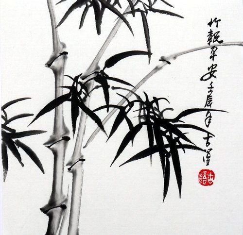 Chinese Small Painting Birds Flowers Bamboo 6 7x6 7 Xieyi Brush