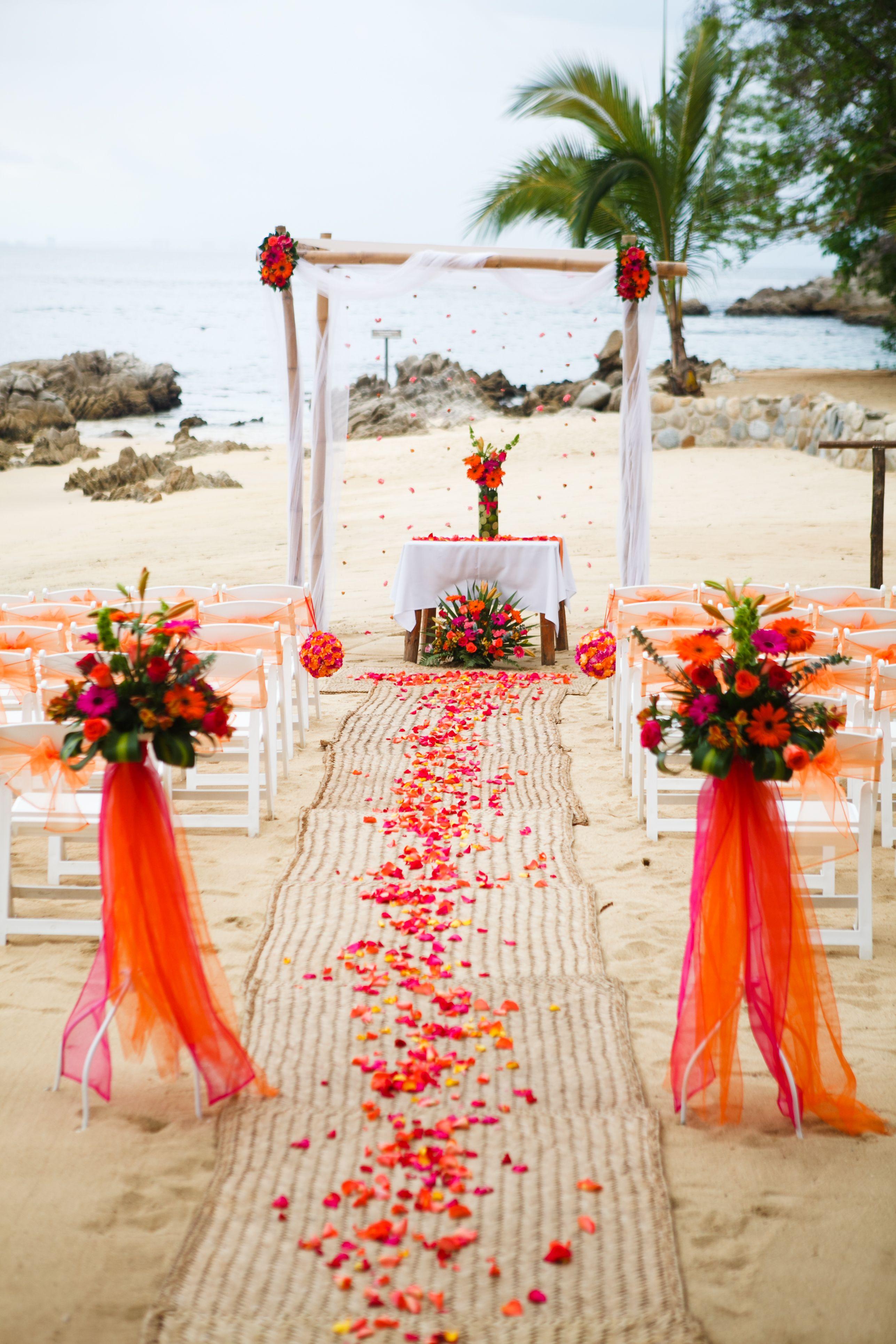 Lovely Orange Setting Adventure Weddings At Las Caletas Puerto Vallarta Mexico