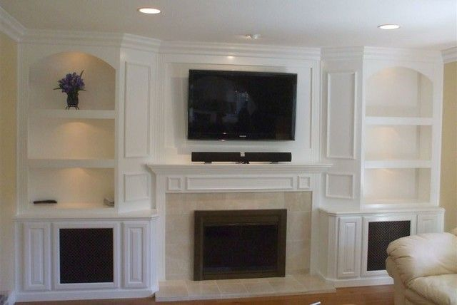 Superior Built In White Lacquer Wall Unit Traditional Living Room