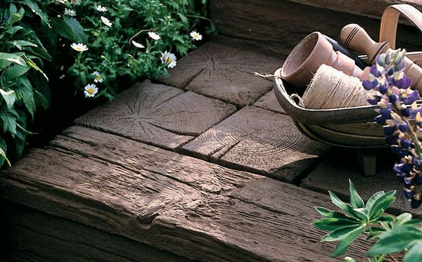 Houten Tegels Tuin : Timberstone replica imitatie houten terrastegels marshalls