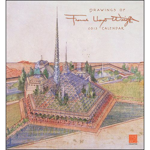 Drawings of Frank Lloyd Wright Wall Calendar: The 12 presentation drawings selected for this calendar -some for famous buildings, others for projects that never went beyond the drawing board - offer a modest glimpse of the prolific output of one of the world's greatest architects, Frank Lloyd Wright (American, 1867 - 1959). $13.99 http://calendars.com/Architecture-and-Design/Drawings-of-Frank-Lloyd-Wright-2013-Wall-Calendar/prod201300002058/?categoryId=cat00005=cat00005#