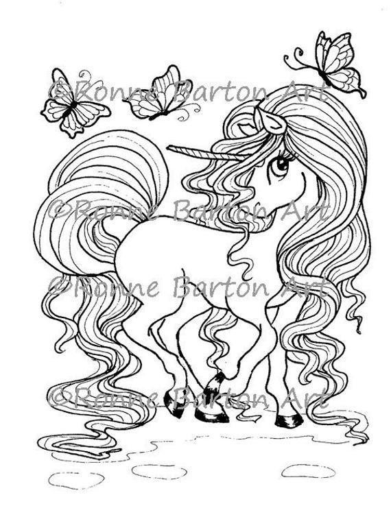 Goldenhorn Unicorn Coloring Page Printable Illustration