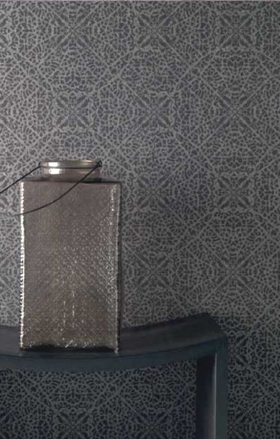 Rasch-Textil Indigo- 226309 Grau-Braun Silber Ornament-Muster ...