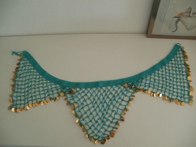 Beaded bellydancing scarf with coin border
