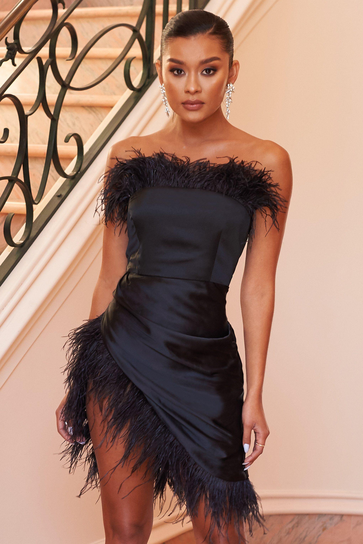 Black Satin Bandeau Feather Mini Dress Club L London Feather Dress Elegant Dresses For Women Black Feather Dress [ 3060 x 2040 Pixel ]