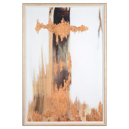 No. 3 Texture Copper Leaf Abstract Painting - Maple Frame | Kathy Kuo Home