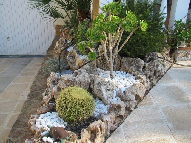 jardin de rocaille avec un grand cactus et rochers en calcaire jardinage pinterest grand. Black Bedroom Furniture Sets. Home Design Ideas