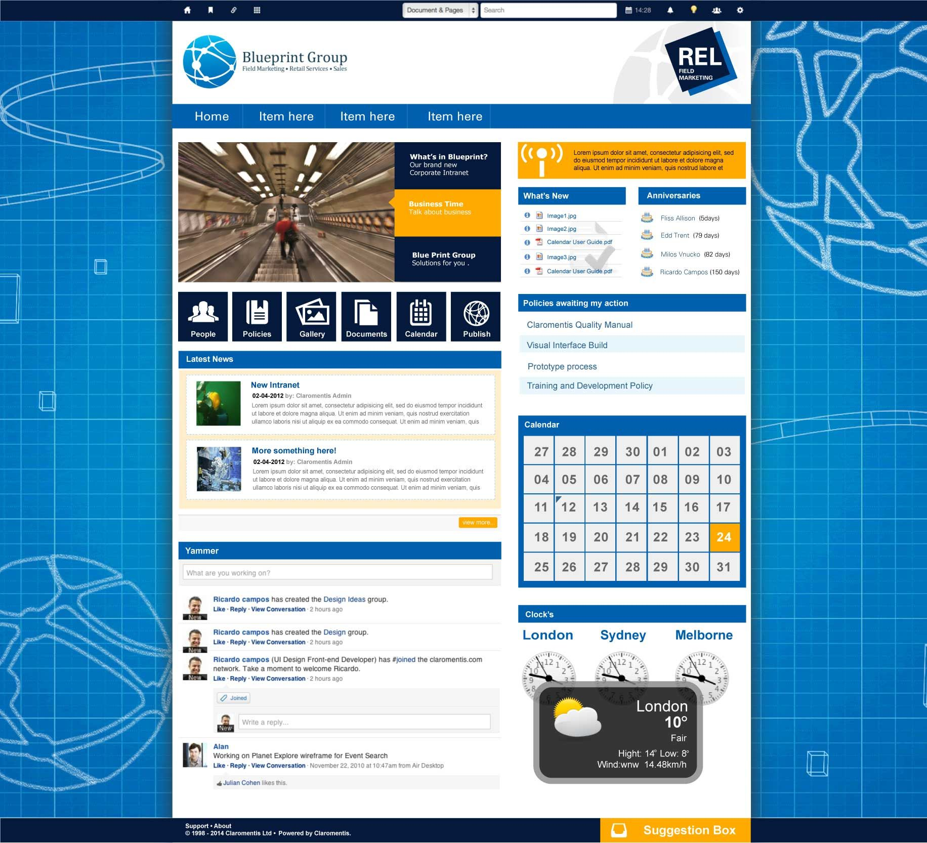 Intranet Site Map Example: Like The Use Of Icons Below The Main Image. Blue Print