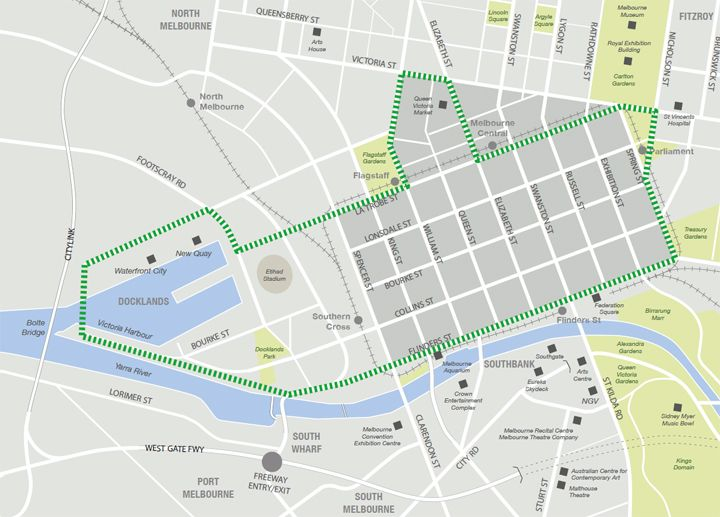 Melbourne CBD and Docklands free tram travel grid Melbourne