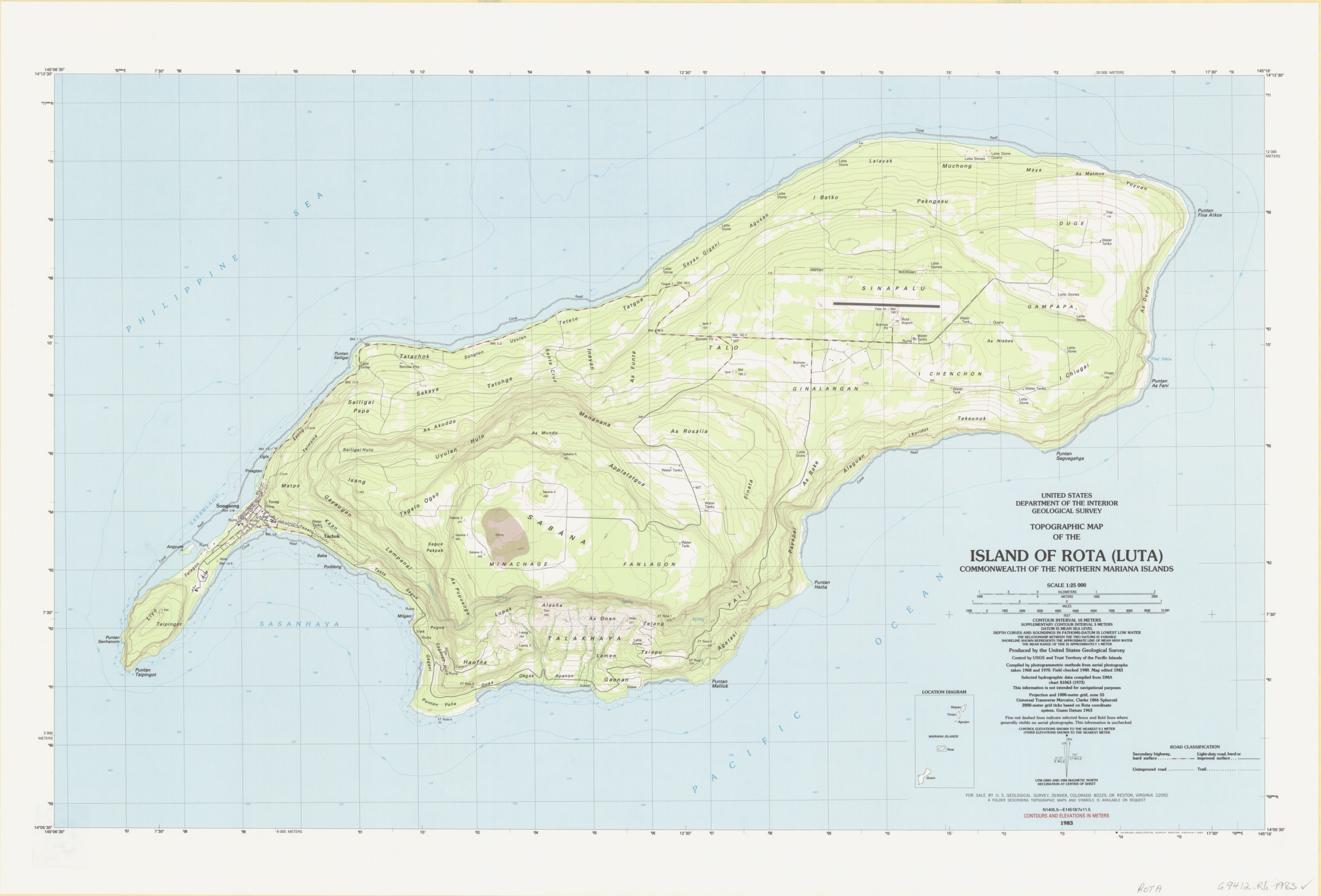 Topographic map of the island of Rota Luta monwealth of the
