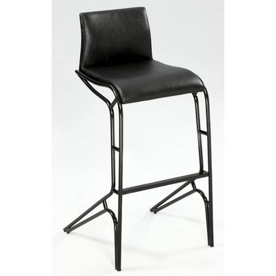 "Chintaly Modern 29.53"" Bar Stool (Set of 2) Upholstery: Black"