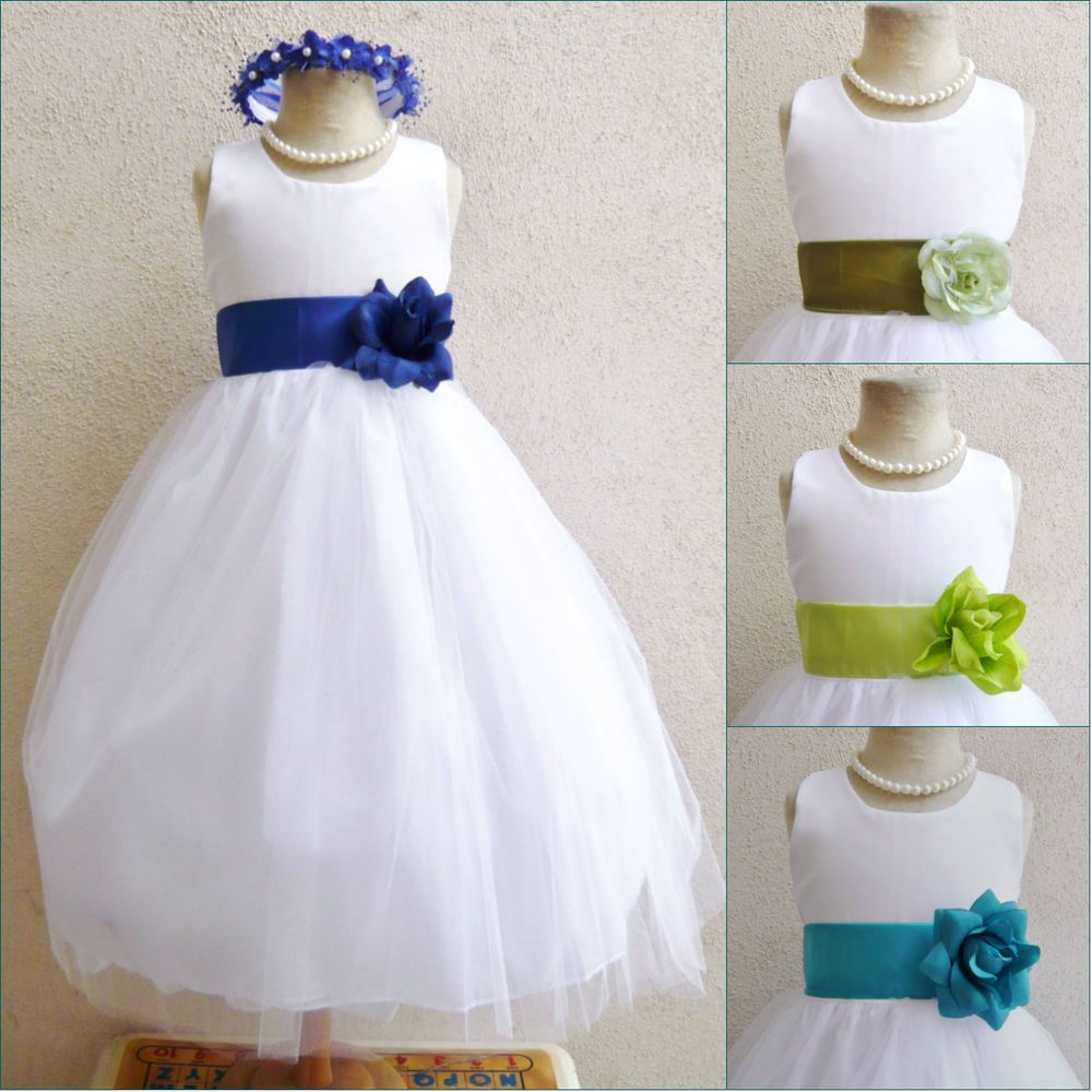 WHITE ROYAL BLUE JADE GREEN WEDDING BABY PARTY PAGEANT GOWN FLOWER ...