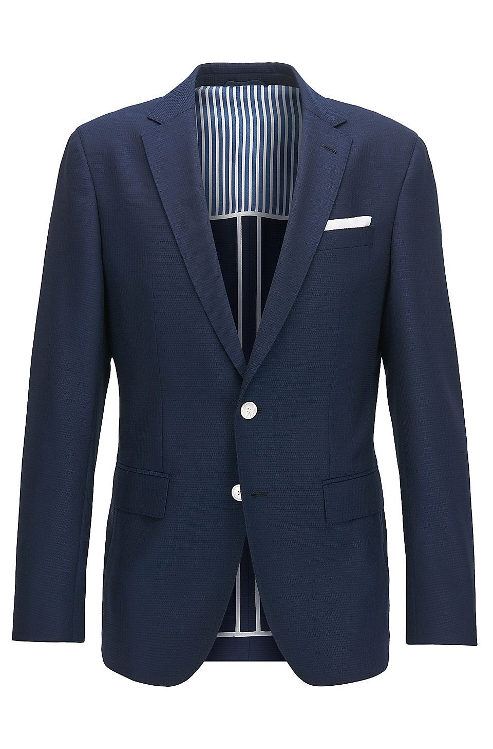 f78792d18 Slim-fit jacket in structured virgin wool with contrast details Dark Blue  from BOSS for Men for £449.00 in the official HUGO BOSS Online Store free  shipping