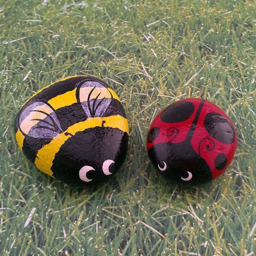 Ladybug bumble bee set of two hand painted garden stones for Big hands for gardening