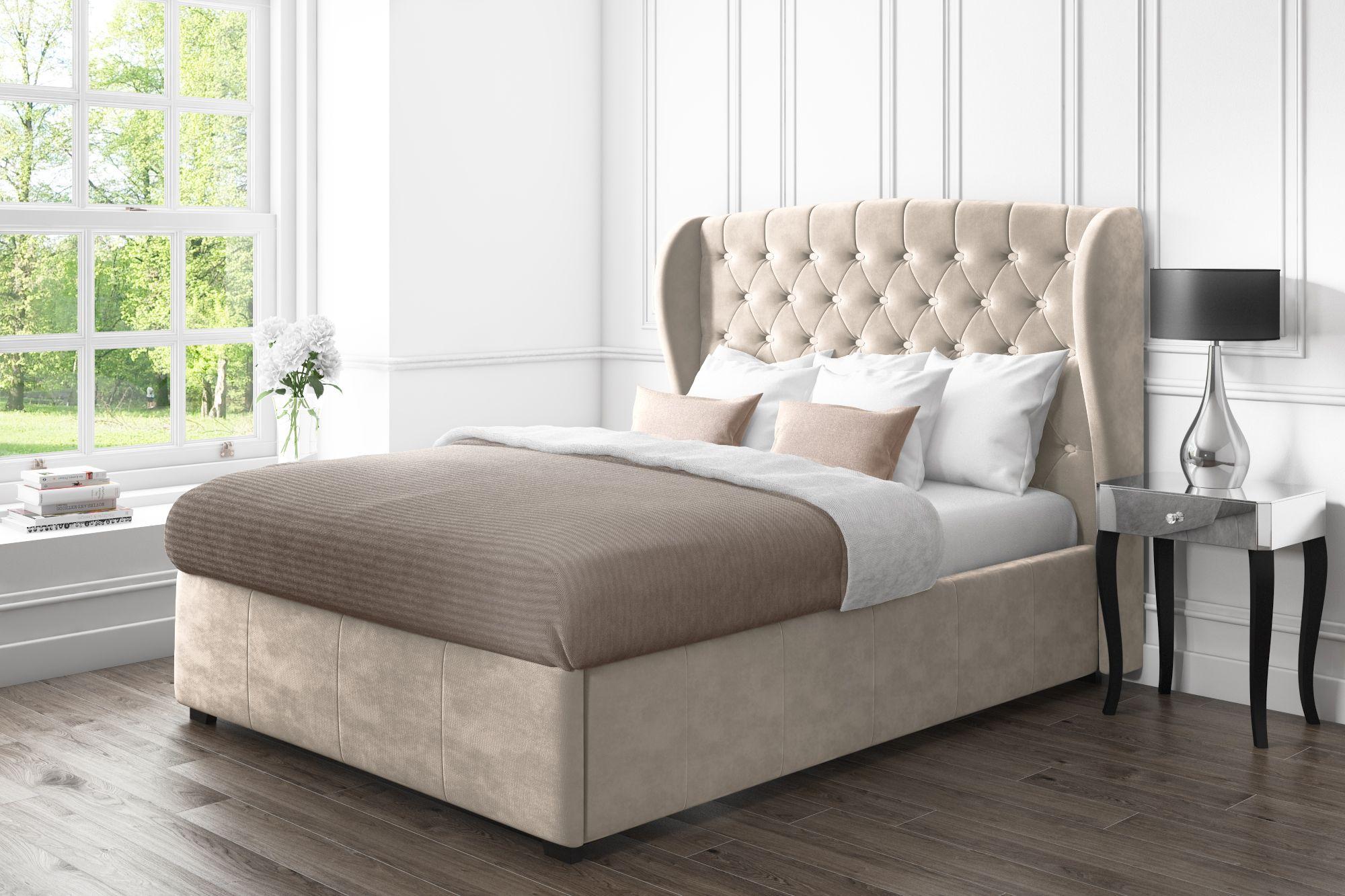 Pleasing Safina Wing Back Double Ottoman Bed In Beige Velvet Saf022 Spiritservingveterans Wood Chair Design Ideas Spiritservingveteransorg