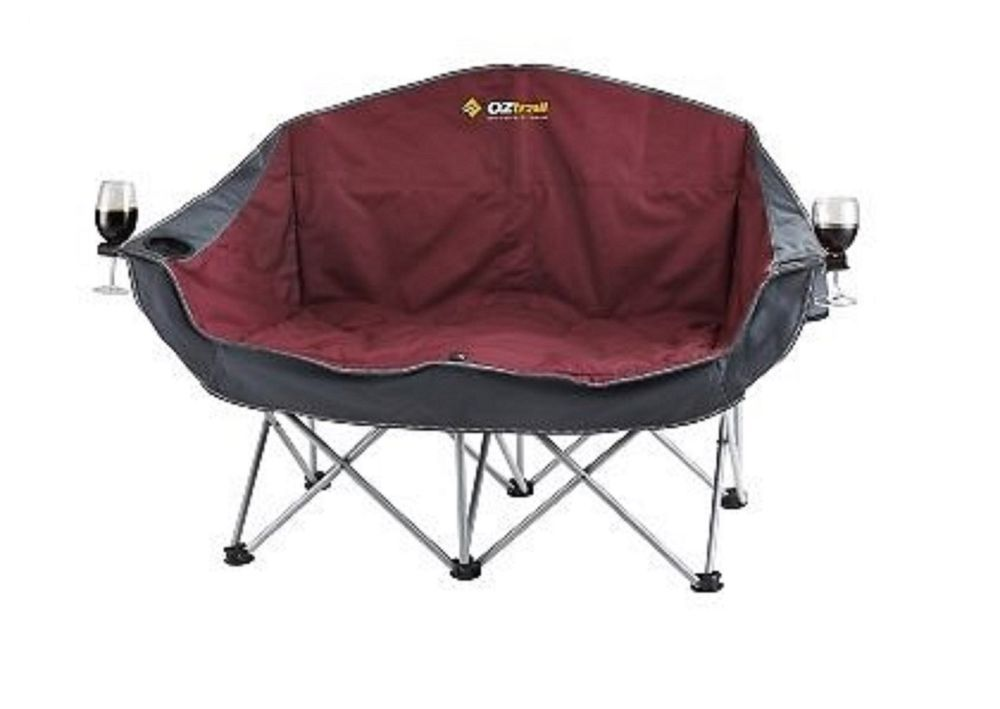 Oztrail Moon Double Chair With Arms Rated 240kg Wine Holder Camping Fcb Mad B