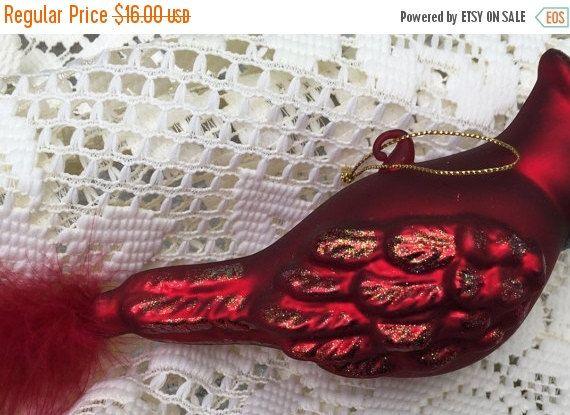 SALE Cardinal Christmas Tree Ornament Blown Glass Feather Tail Male Cardinal Estate Item