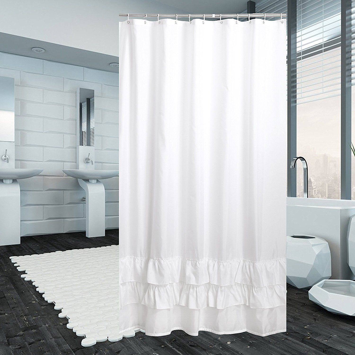 Luunaa Extra Thicken Premium Quality Ruffle Shower Curtain Polyester Fabric Washable 72x80 White Ruffle Shower Curtains Extra Long Shower Curtain Fabric Shower Curtains