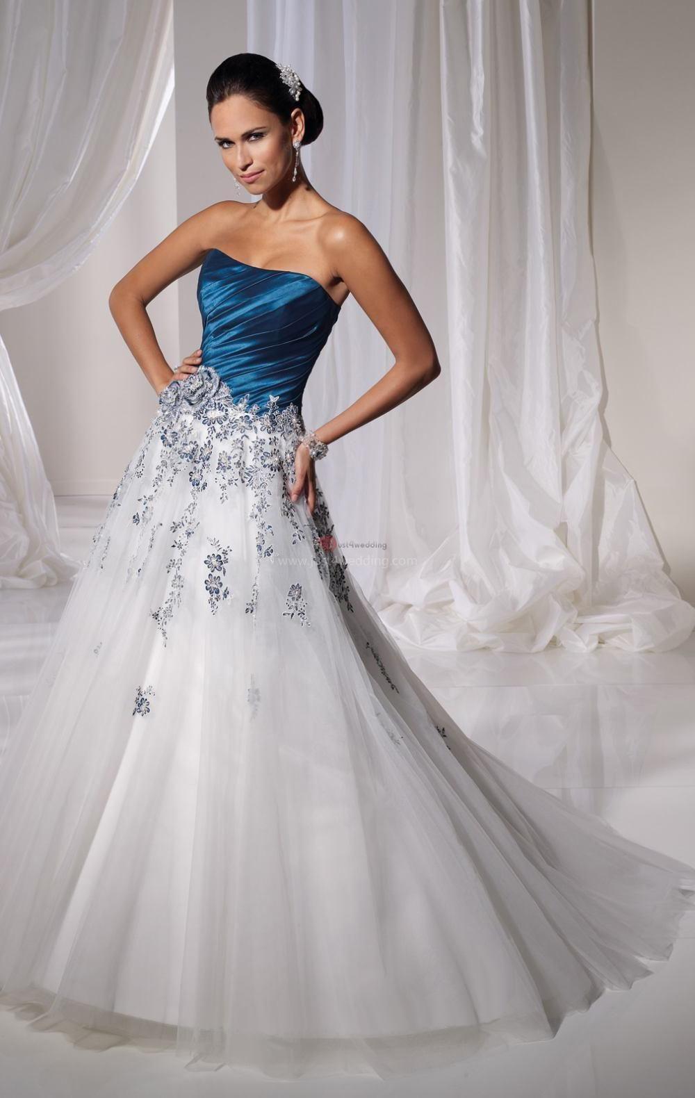 Blue and white wedding dress wedding magazine pinterest blue