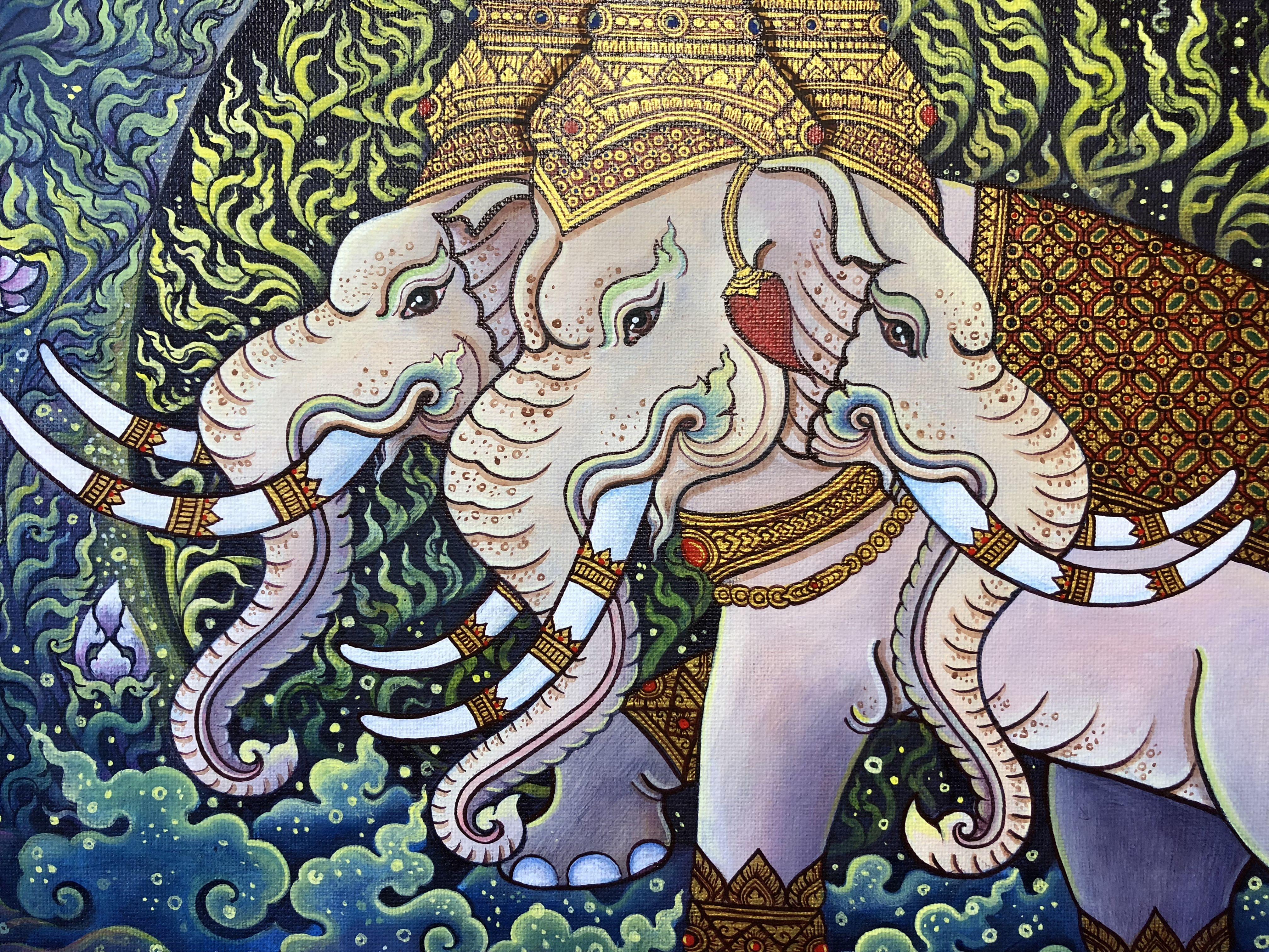 Plabpluengsgallery Thaiart Erawan Painting Acrylicpainting Loveart Artist Elephant Malerei Leinwand Kunsthandwerk ศ ล ศ ลปะไทย ศ ลปะ จ ตรกรรมฝาผน ง