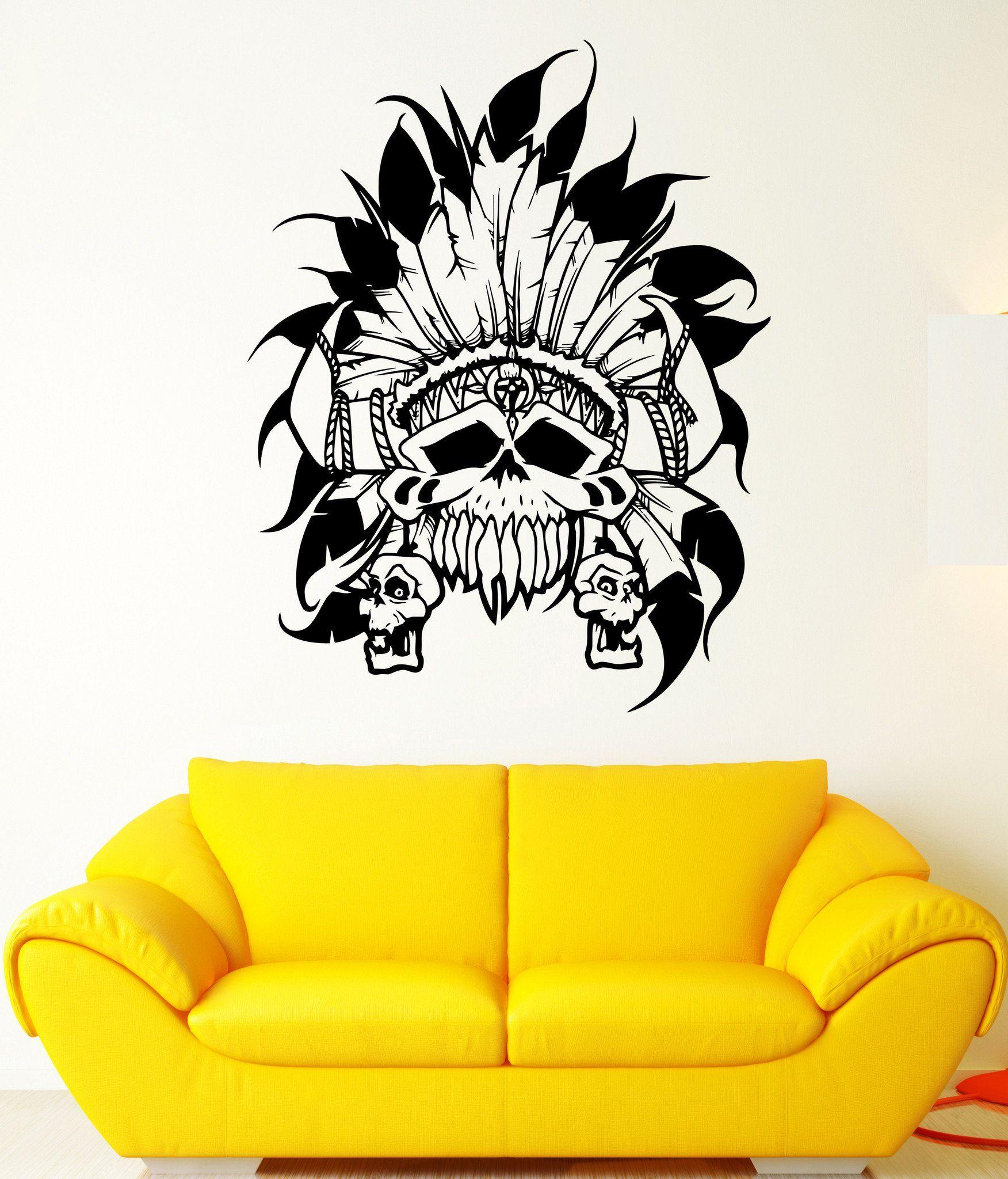 Wall Decal Skull Skeleton Eagle Feathers Sunny Headdress Vinyl Decal ...