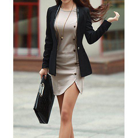 929a367227 Buttons Design Long Sleeve Round Neck Pullover Women s Dress