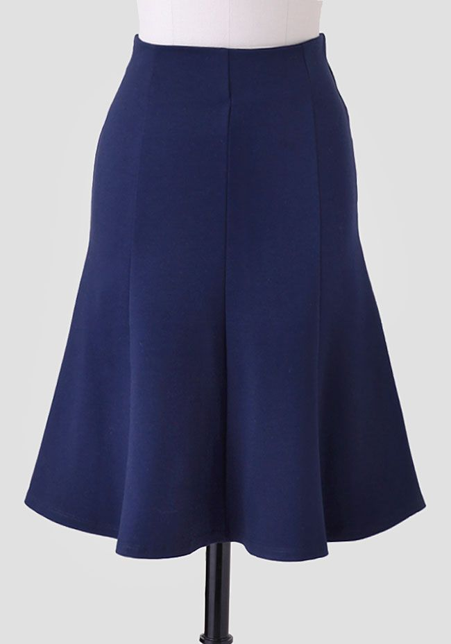 Corner Cafe Midi Skirt at #Ruche @Mimi ♥♥ - cute trumpet shape skirt in classic navy