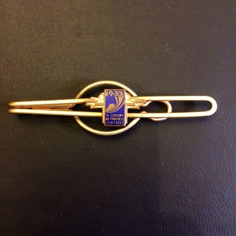 Vintage 1933 World's Fair Chicago Tie Bar in Gold by BriarVintage, $35.00