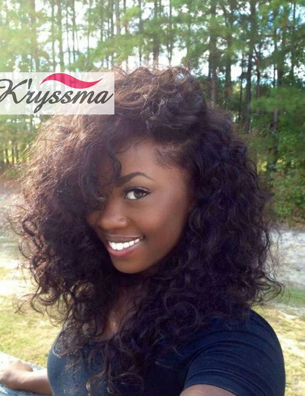 Brazilian curly wigs remy human hair glueless lace front wigs black