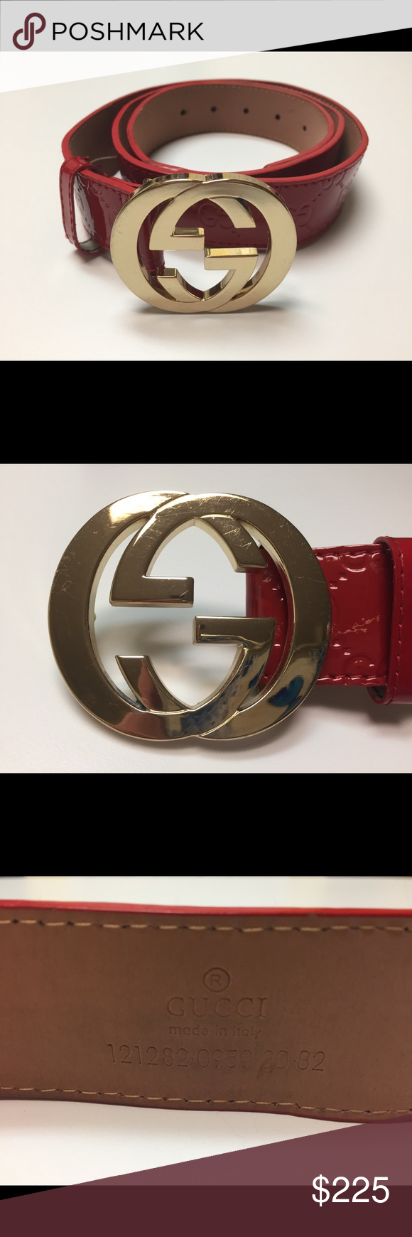 e77364ec9f7 Men s Red Gucci Belt Gold Buckle Red Gucci belt with gold buckle. Size 50